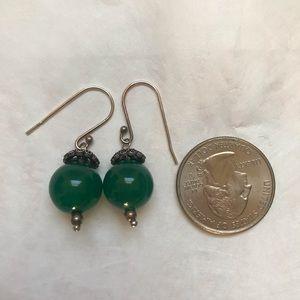 Green agate stone silver earrings